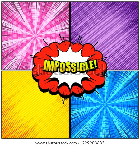 stock-vector-comic-book-light-concept-with-colorful-speech-bubbles-impossible-wording-sound-rays-radial-slanted
