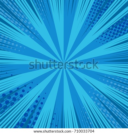 Comic book page background with rays, radial effects and halftone effects in blue colors. Vector illustration