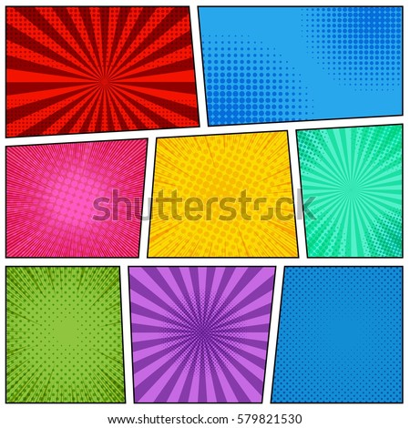 Comic book page blank concept with bright colorful frames radial halftone dotted and rays effects in pop art style. Vector illustration