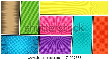 Comic book page colorful horizontal template with different humor effects in manga style. Vector illustration