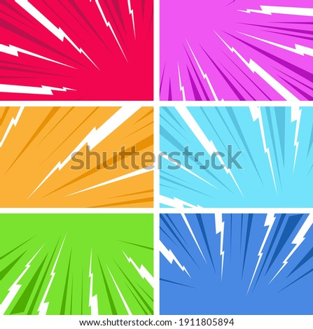 Comic book page composition of different colorful backgrounds. Art explosion for action comic book and manga. Confrontation image illustration of thunder bolt. Flat illustration Comic Style Vector.