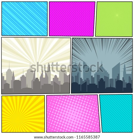 Comic book page composition with city silhouettes stripes halftone radial rays humor effects. Vector illustration
