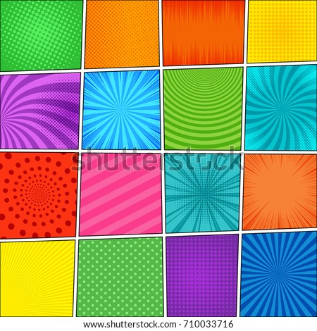 Comic book page composition with sixteen different colorful backgrounds, radial, dotted, halftone, circles, slanted lines, music waves effects in pop-art style. Blank template. Vector illustration