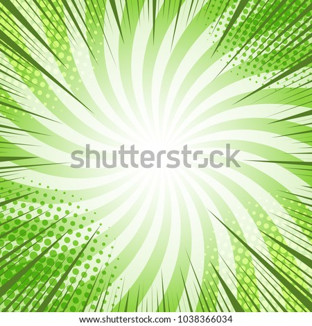 Stock Photo Comic book page green bright background with flash light rays dotted and radial humor effects. Vector illustration
