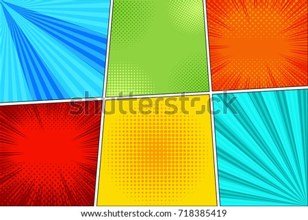 Comic Book Page Horizontal Background With Six Colorful Frames Rays Radial Dotted And