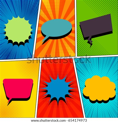 Comic book page template with blank colorful speech bubbles of various forms in pop-art style. Rays, radial, halftone, dotted effects. Vector illustration