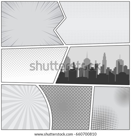 Comic book page template with cityscape rays radial dotted halftone effects in gray colors. Monochrome pop-art style. Vector illustration