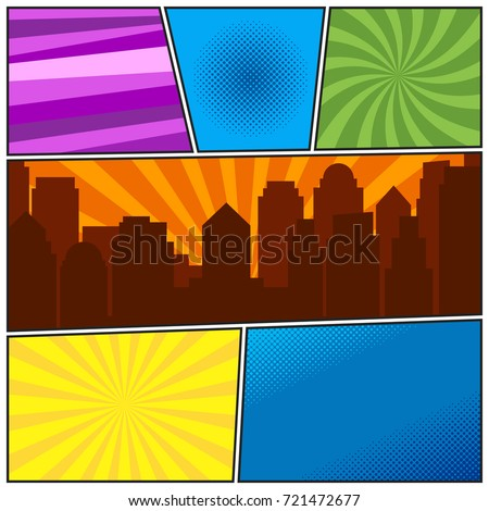 Comic book page template with different radial backgrounds and city silhouette. Colorful vector backgrounds in pop-art style