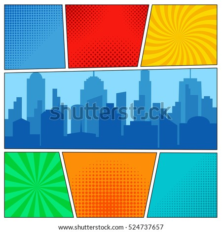 Comic book page template with radial backgrounds, halftone effects and city silhouette in pop-art style. Vector illustration