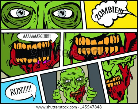 comic book page zombie attack