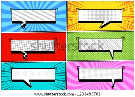 stock-vector-comic-book-pages-collection-with-six-blank-rectangular-speech-bubbles-sound-rays-radial-and