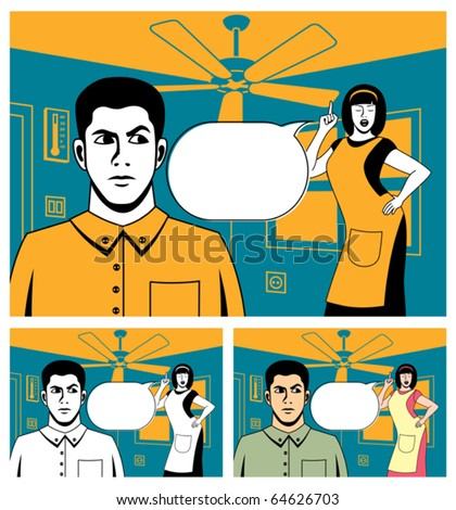 Comic book picture of arguing couple. Below is the same picture colored in 2 different ways.