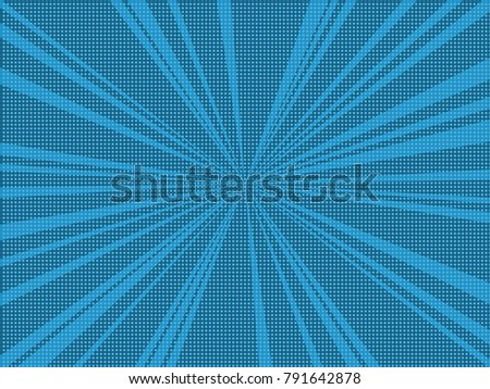 Comic Book Pop Art Retro Background With Halftone Dots And Radial Rays Vector Illustration Of