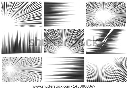 Comic book radial and linear speed background set Isolated on white background. Vector illustration.
