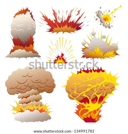 Comic book set of explosions, vector illustration