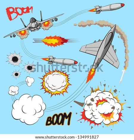 Comic book set of planes