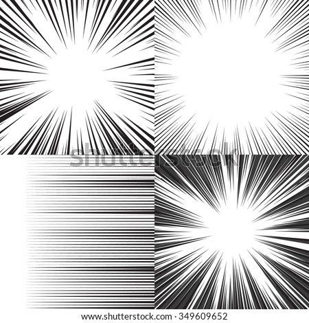 Comic book speed horizontal lines background set of four editable images