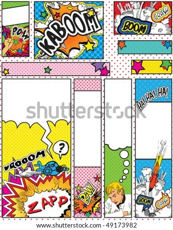 comic book style banners in
