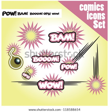 comic book style bombs boom bam wow pow ops  explode set of icons