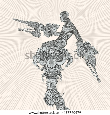 comic book style cyborg hero