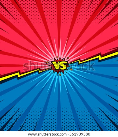 Comic book versus background, classic pop-art style, heroes battle intro, halftone print texture, red and blue corner