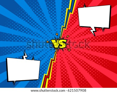 Comic book versus fight intro background, halftone print texture. Two rivals chat window.