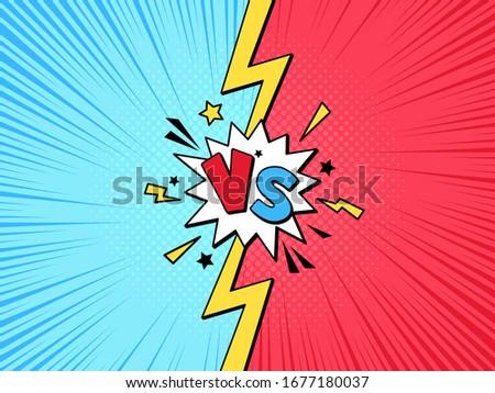 Comic book VS frame. Cartoon versus pop art lightning halftone background, challenge or team battle competition vector illustration template. Fight battle and compare, challenge comic duel