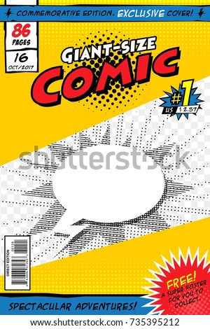 Comic book with balloon and explosion. Vector illustration