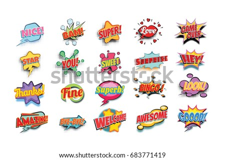 comic book words set. nice bam super love game over star you sweet surprise hey thanks fine superb bingo look amazing bye welcome awesome good. Pop art retro vector illustration