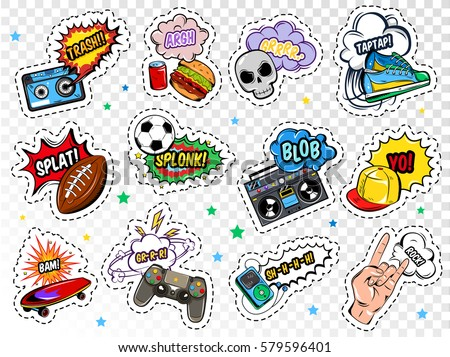 Comic boys stickers set with colorful sport food music and fashion patches on transparent background isolated vector illustration
