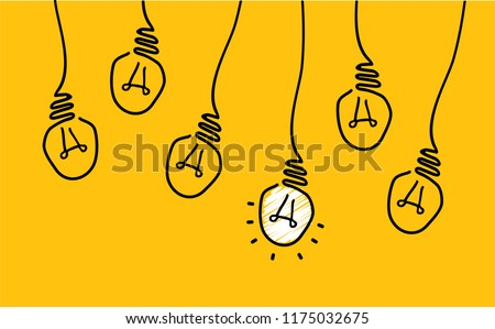 Comic brain electric lamp idea doodle FAQ, business loading concept Fun vector creative light bulb icon or sign ideas Brilliant lightbulb education  or inventions pictogram Think big Great s  lol