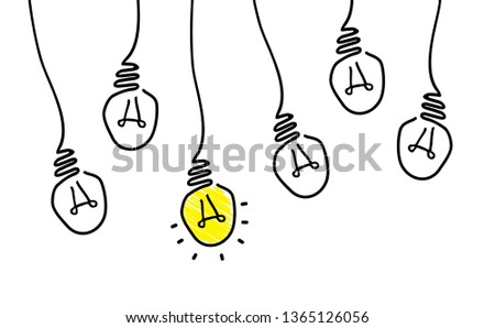 Comic brain electric lamp idea doodle. FAQ, business loading concept. Fun vector light bulb icon or sign ideas. Brilliant lightbulb education  or invention pictogram banner. Think big motivations.