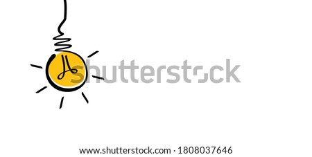 Comic brain electric lamp idea doodle. FAQ, business loading concept. Fun vector light bulb icon or sign ideas. Brilliant lightbulb education or invention pictogram banner