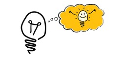 Comic brain electric lamp, speech bubble cloud with lamp idea. Vector light bulb icon or sign. Brilliant lightbulb education  or invention pictogram banner. Possitive, motivation and inspiration.