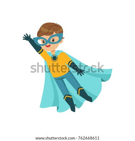 comic brave kid in blue and