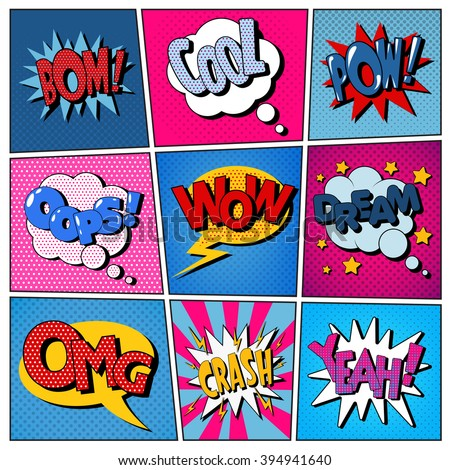 comic bubbles set expressions