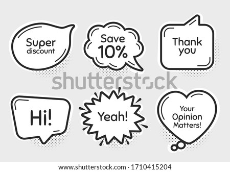Comic chat bubbles. Super, 10% discount and opinion matters. Thank you, hi and yeah phrases. Sale shopping text. Chat messages with phrases. Drawing texting thought speech bubbles. Vector