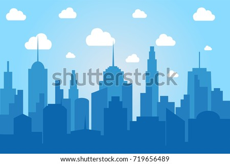 Comic cityscape light background with buildings silhouette and white clouds at day time. Vector illustration