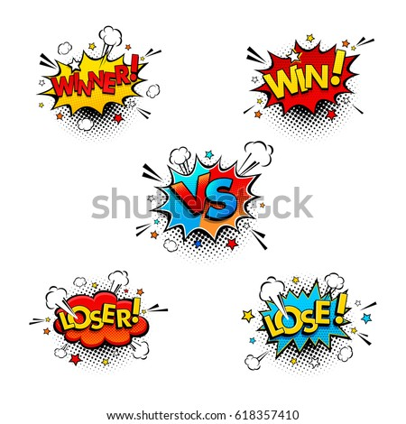 Comic competition speech bubbles set with expression text Win, Winner, Vs or Versus, Lose, Loser. Vector bright dynamic cartoon illustration in retro pop art style isolated on white background. Foto d'archivio ©