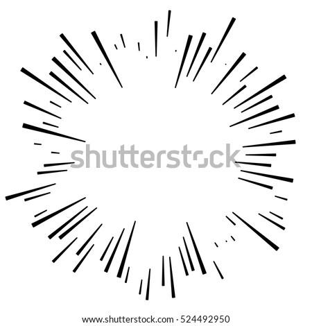 Comic explosion effect. Radiating, radial lines. Starburst, sunburst element Foto stock ©