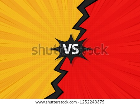 Comic Fighting Cartoon Background.Blue Vs Red. Vector Illustration Design.
