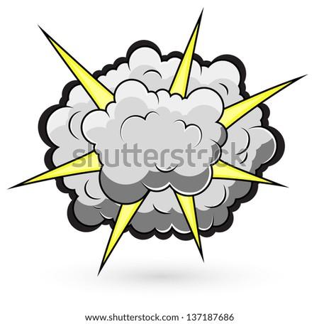 Comic Fighting Cloud Burst Vector Illustration