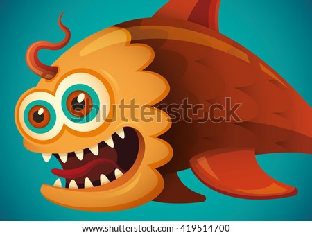 comic fish illustration vector