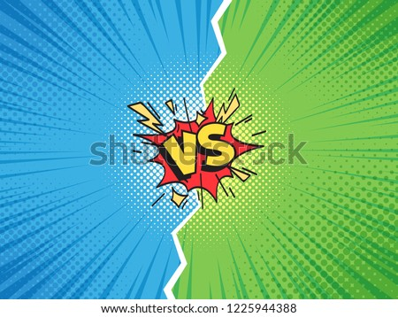 Comic frame VS. Versus duel battle or team challenge confrontation cartoon comics halftone background, superhero championship competition challenge. Retro pop art illustration vector template