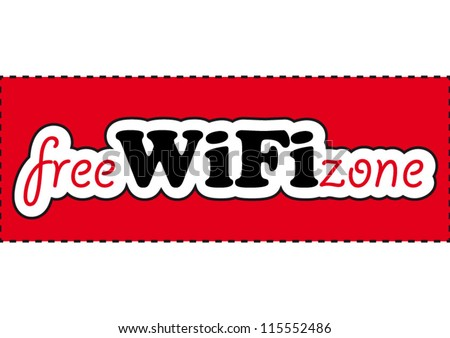 Comic free WIFI zone sign on red background