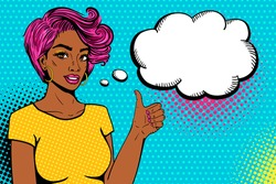 Comic girl. Sexy african american woman in t-shirt  with smile and pink hair shows thumb up and empty speech bubble. Vector colorful background in pop art retro comic style. Party invitation poster.