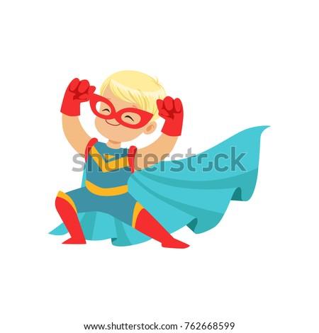 comic happy kid in superhero