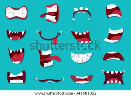 comic mouth set  illustration