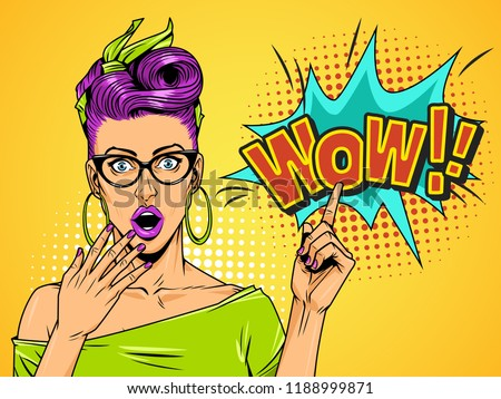 Comic page bright concept with attractive surprised woman pointing at speech bubble with OMG wording vector illustration