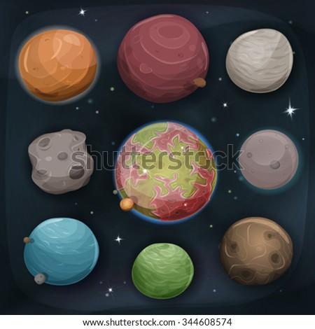 comic planets set on space